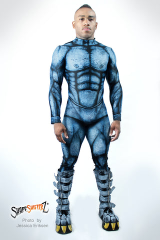 Figure-Enhancing Men's Blue Demon Bodysuit - Cosplay | Athletics | Performance