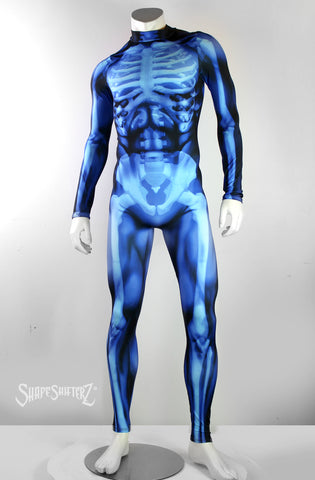 Figure-Enhancing Men's Blue Skeleton Bodysuit - Cosplay | Athletics | Performance