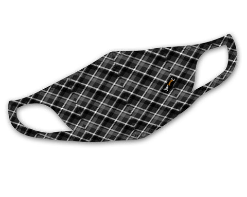 Plaid Mask | Black and Grey Tones | Cool and Stretchy