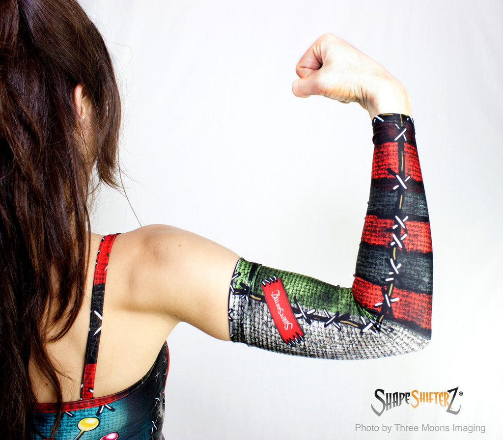 Woman's 'LOVE VOODOO DOLL' Compression Arm Sleeves -- LEFT and RIGHT - sportswear/costume