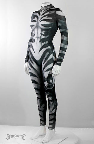 Full Bodysuit - Front Zipper - Women's Cat's Meow Bodysuit -- Costume Sportswear - Black And White Cat With Printed Tail