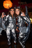 Full Bodysuit - Front Zipper - Women's 'GARGOYLE BARRED - V2' Bodysuit --sportswear/costume