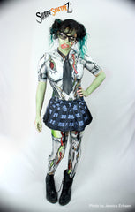 Women's 'ZOMBIE SCHOOL GIRL' -- Bodysuit plus tie and skirt -- sportswear/costume