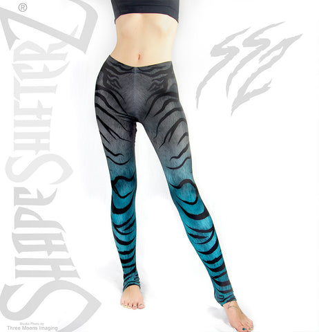 Leggings - Woman's 'ZEBRA' Leggings -- Too Cute Teal - Sportswear/costume