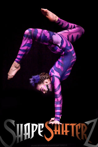 Women's 'Cheshire Catsuit/Bodysuit' -- Costume Sportswear - Purple&Pink Cat with Fat Tail