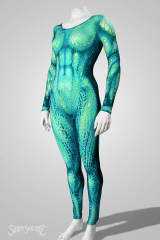 Blue Green Aqua Cosplay & Dance Costume Bodysuit - Ultra Contour