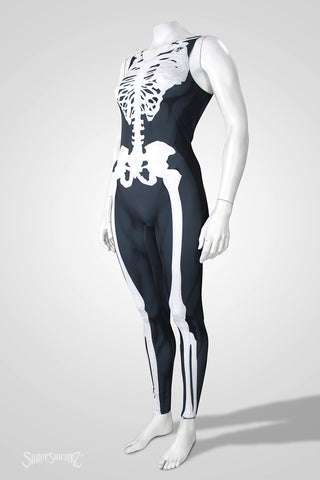 Women's Skeleton sleeveless catsuit
