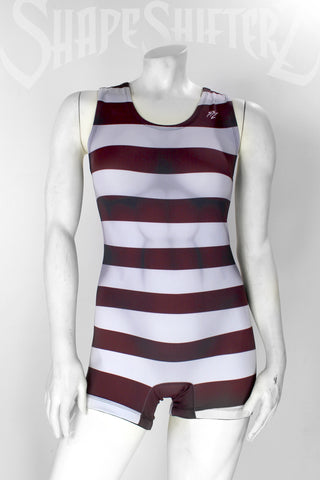 Figure-Enhancing | Striped Strong Woman Singlet Powerlifting