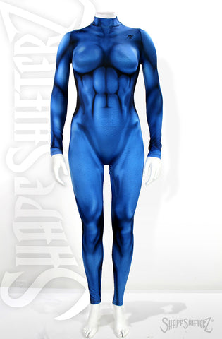 Woman's DIY Costume Cosplay Supersuit superhero bodysuit onesie Supergirl Fantastic 4 Four Aqua Girl Thing 1 and 2