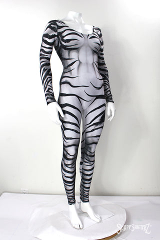 Women's 'ZEBRA' catsuit with sleeves