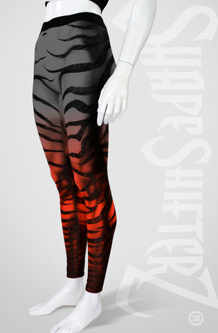 Zebra Leggings - Black to Red Fade - High Contour