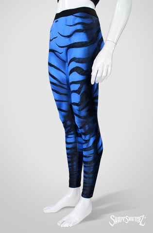 Zebra Leggings - Blue - High Contour