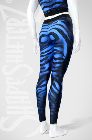 Woman's 'ZEBRA' Leggings -- Too Cool Blue