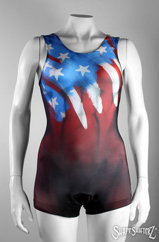 Woman's USA Flag Singlet red, white and blue