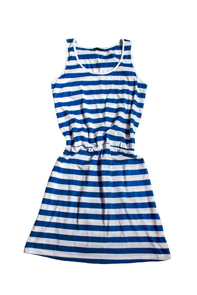 Summer Casual Stripe Elastic Waist Beach Dress