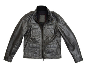 Black Slim Fit Biker Leather Jacket