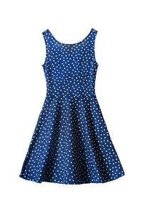 White Polka Dot Belted Occasion Dress
