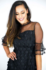 High Waisted A-line 3/4 Party Sleeves Black Dress