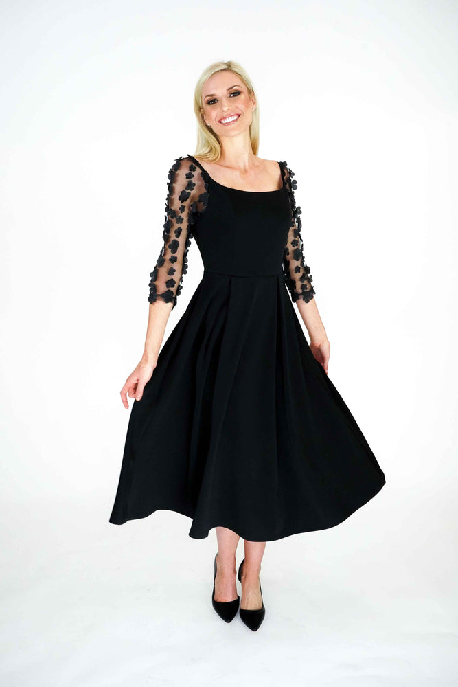Elegant Fit and Flare Midi Skirt with 3D Black Floral Sleeves