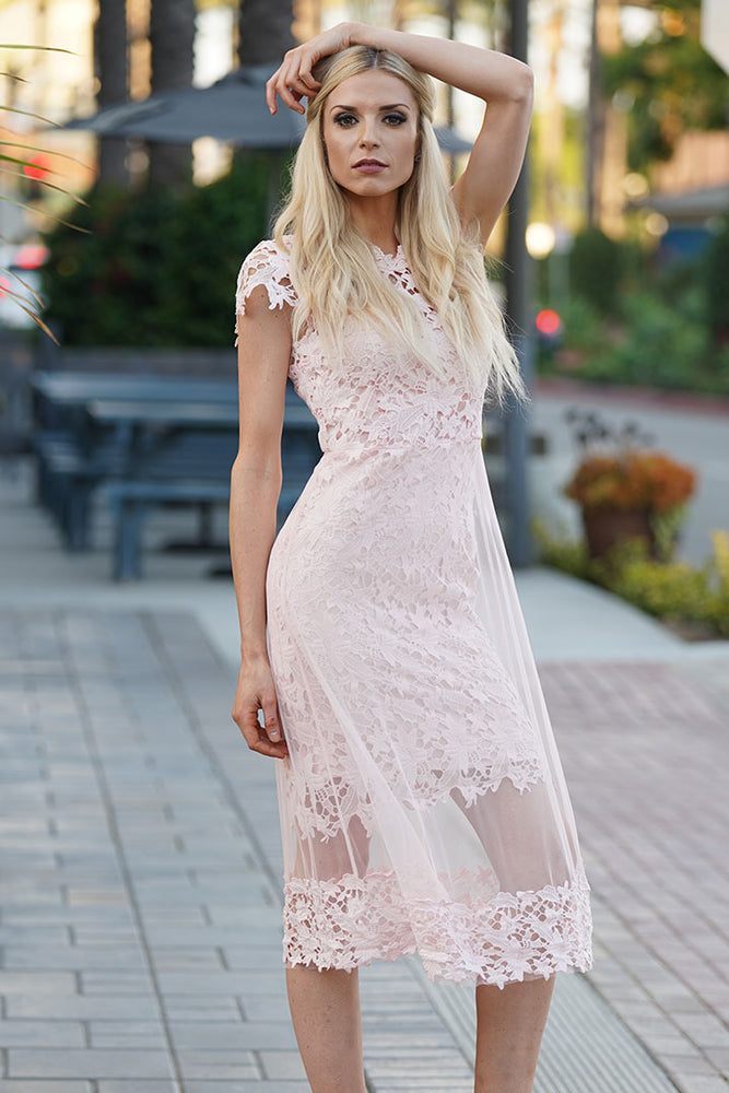 A-Line Classy Pink Short Lace Sleeve Party Dress