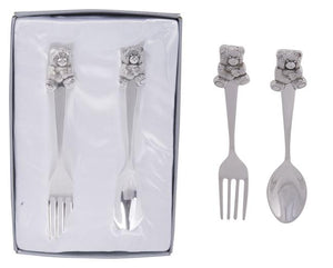 Childrens spoon & fork set bear silver plated Luxe Gift & Decor