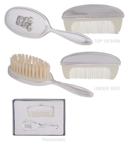 Baby Brush & Comb Set Bear Silver Plated Luxe Gift & Decor