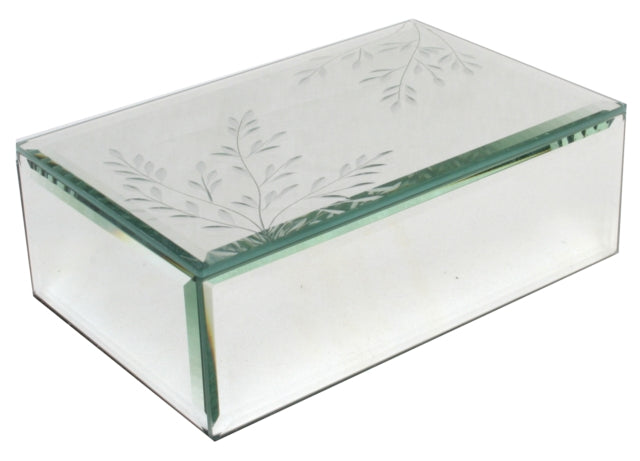 Jewellery Box Mirrored w/- etched leaves Luxe Gift & decor