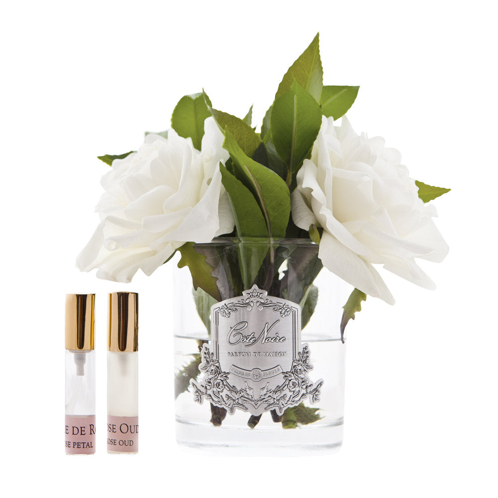 CÔTE NOIRE PERFUMED IVORY ENGLISH ROSES IN CLEAR GLASS Luxe Gift & Decor
