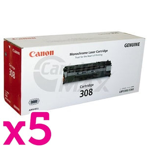 5 x Canon CART-308 Black Original Toner Cartridge 2,500 Pages