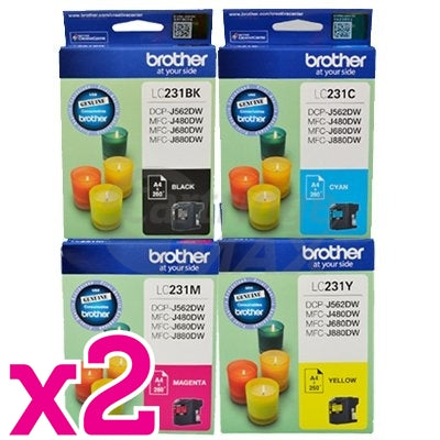 8-Pack Brother LC-231 Original Ink Combo [2BK,2C,2M,2Y]