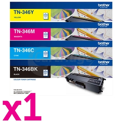 4-Pack Original Brother TN-346 High Yield Toner Combo [1BK,1C,1M,1Y]