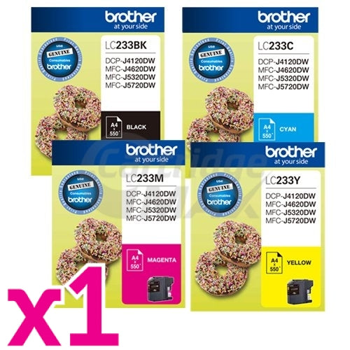 4 Pack Original Brother LC-233 Ink Combo [BK+C+M+Y]