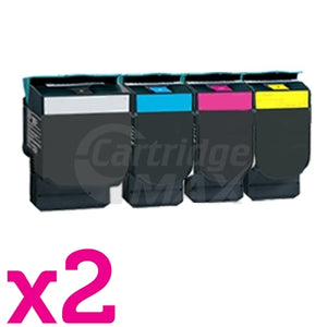2 sets of 4 Pack Lexmark Generic C540 / C543 / C544 / C546 / X543 / X544 / X546 Toner Cartridges High Yield - BK 2,500 pages & CMY