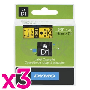 3 x Dymo SD40918 / S0720730 Original 9mm Black Text on Yellow Label Cassette - 7 meters