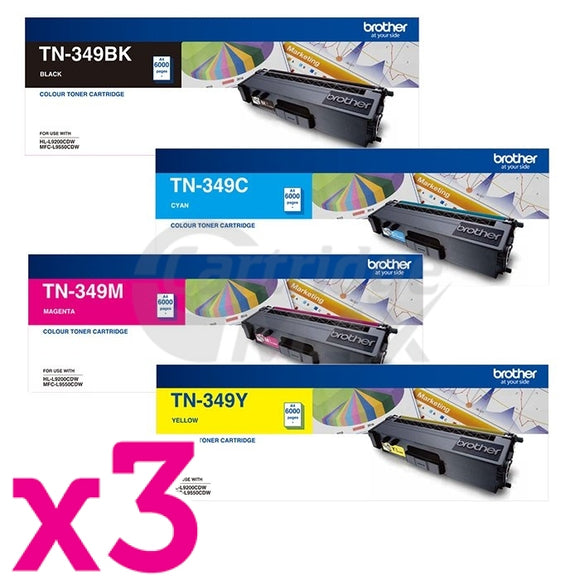 3 sets of 4-Pack Original Brother TN-349 Toner Combo [3BK,3C,3M,3Y]