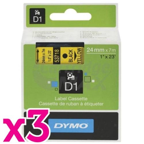 3 x Dymo D1 SD53718 / S0720980 Original 24mm Black Text on Yellow Label Cassette - 7 meters