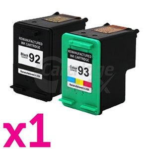 2 Pack HP 92 + 93 Generic Inkjet Cartridges  C9362WA + C9361WA [1BK,1CL]