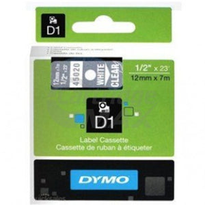 Dymo SD45020 / S0720600 Original 12mm White Text on Clear Label Cassette - 7 meters