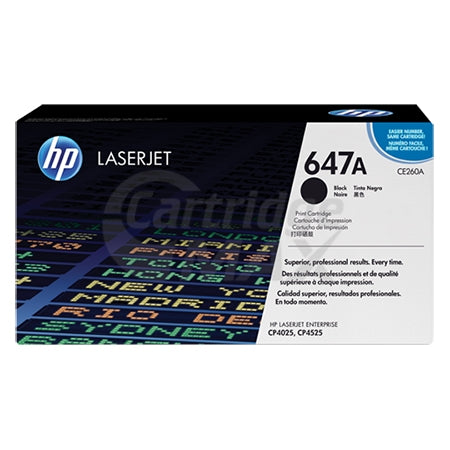 HP CE260A (647A) Original Black Toner Cartridge - 8,500 Pages