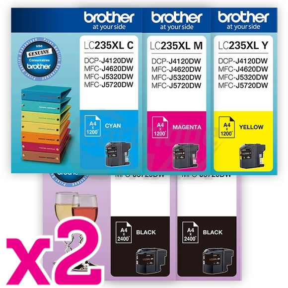 10 Pack Original Brother LC-239XL/LC-235XL High Yield Ink Combo [4BK,2C,2M,2Y]