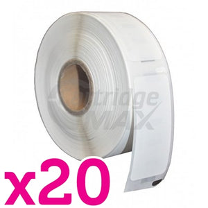 20 x Dymo SD11355 / S0722550 Generic White Label Roll 19mm x 51mm - 500 labels per roll
