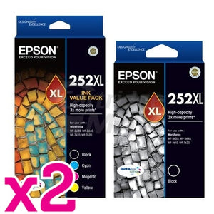 10 Pack Epson 252XL Original Ink Cartridge [C13T253692+C13T253192] [4BK,2C,2M,2Y]