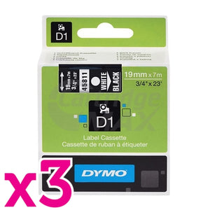 3 x Dymo SD45811 / S0720910 Original 19mm White Text on Black Label Cassette - 7 meters