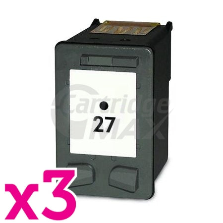 3 x HP 27 Generic Black Inkjet Cartridge C8727AA
