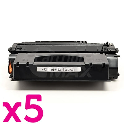 5 x HP Q5949X (49X) Generic Black Toner Cartridge - 6,000 Pages