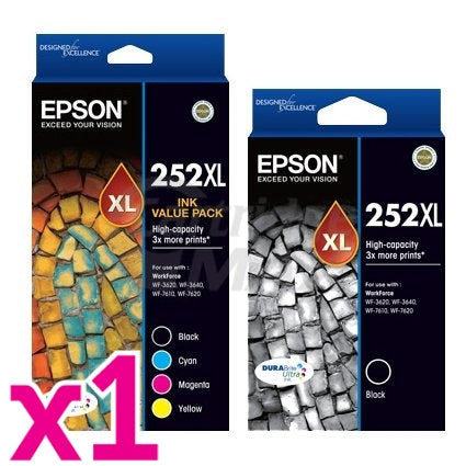 5 Pack Epson 252XL Original Ink Cartridge [C13T253692+C13T253192] [2BK,1C,1M,1Y]