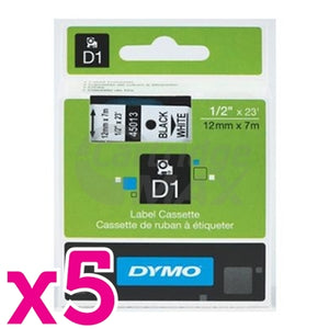 5 x Dymo SD45013 / S0720530 Original 12mm Black Text on White Label Cassette - 7 meters