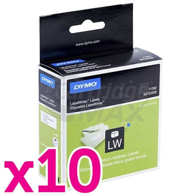 10 x Dymo SD11352 / S0722520 Original White Label Roll 25mm x 54mm - 500 labels per roll