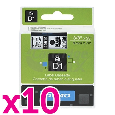 10 x Dymo SD40910 / S0720670 Original 9mm Black Text on Clear Label Cassette - 7 meters