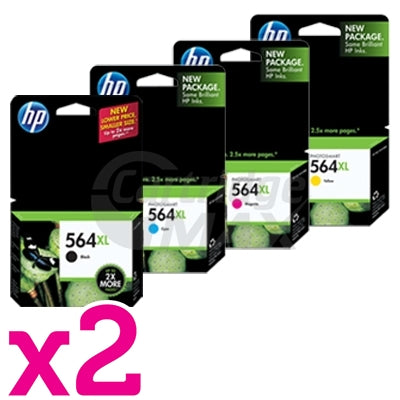 2 sets of 4 Pack HP 564XL Original Inkjet Cartridges CN684WA+CB323WA-CB325WA [2BK,2C,2M,2Y]